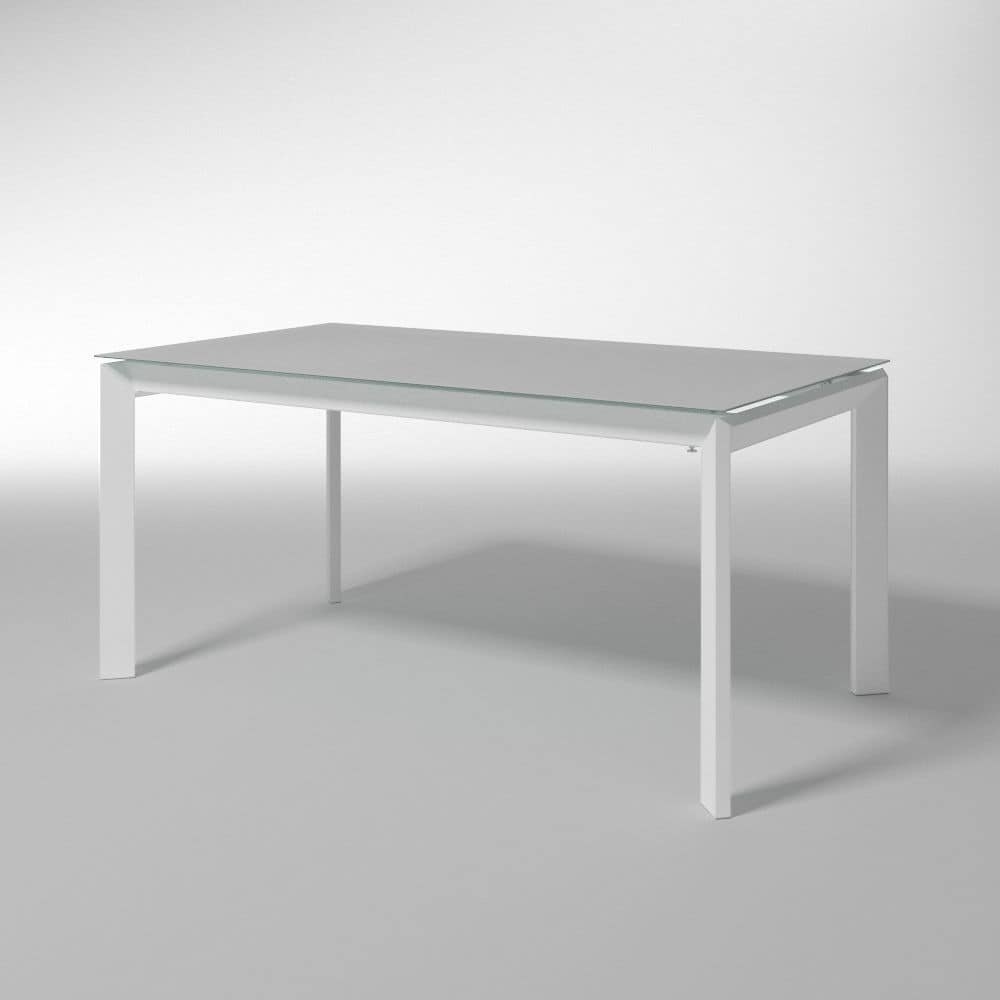Bailo, Extendable table with tempered glass for kitchens