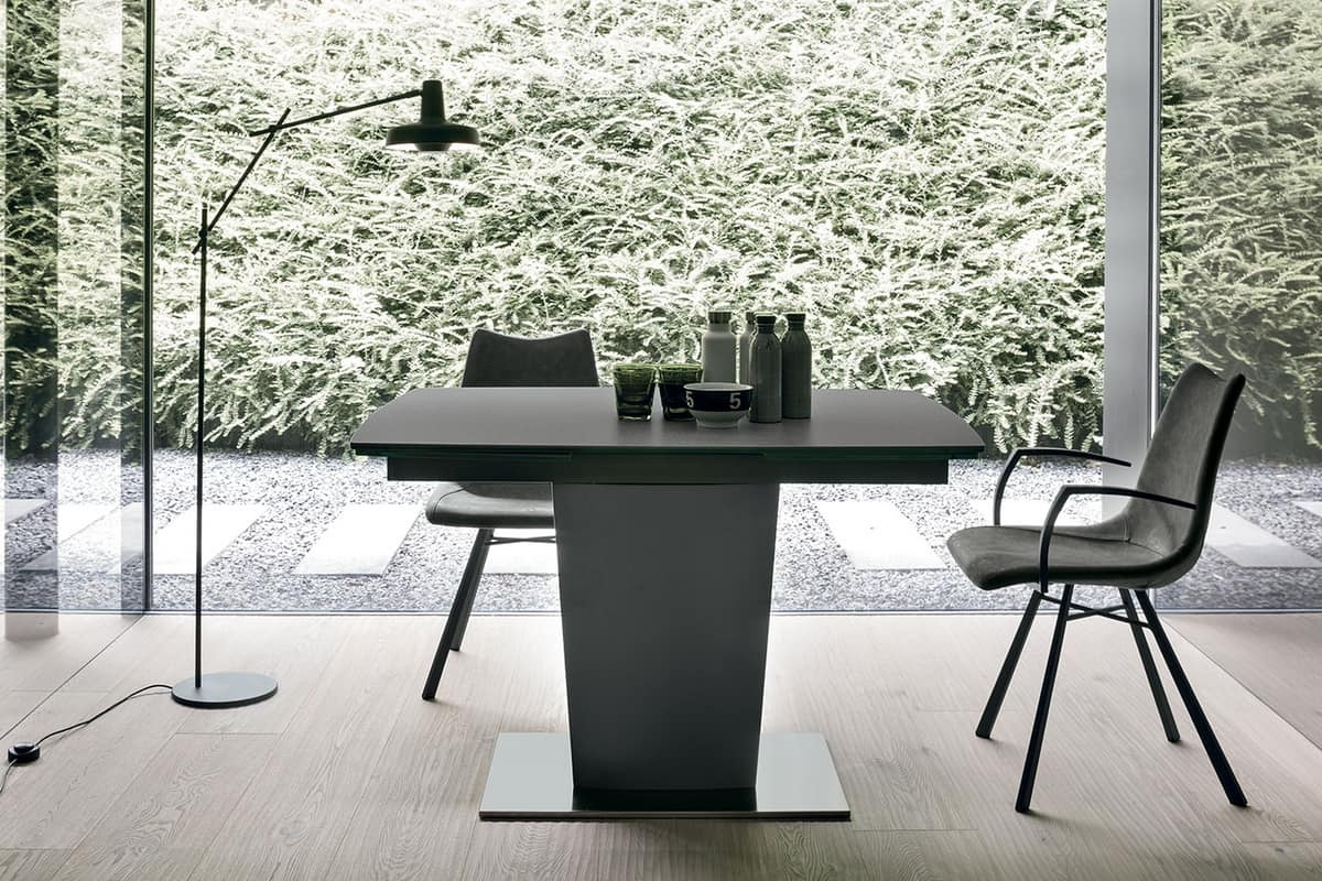 COPERNICO 120 TA184, Modern extendable table with top and extensions made of glass