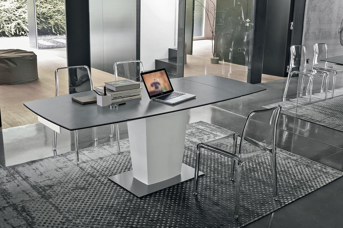 COPERINCO 120 TA184, Modern extendable table with top and extensions made of glass