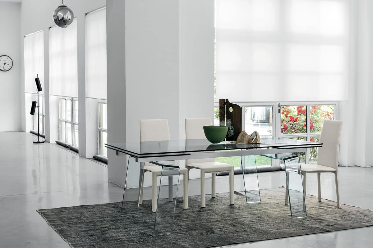 CRYSTAL PLUS TAC01, Extendable table completely transparent, in aluminum and glass