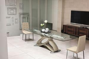ECLIPSE TA400, Extending table with glass top for modern dining rooms
