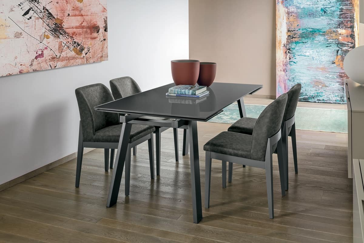 GIOVE 160 TA177, Extendable metal table, glass top, for modern dining rooms