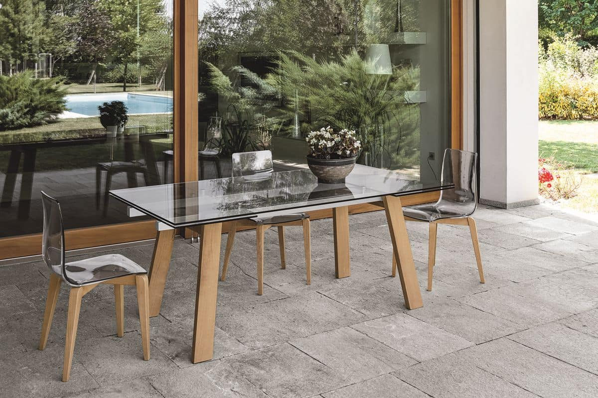 GIOVE 180 TA193, Extendable Table, Top And Extensions In Glass, For Dining  Room