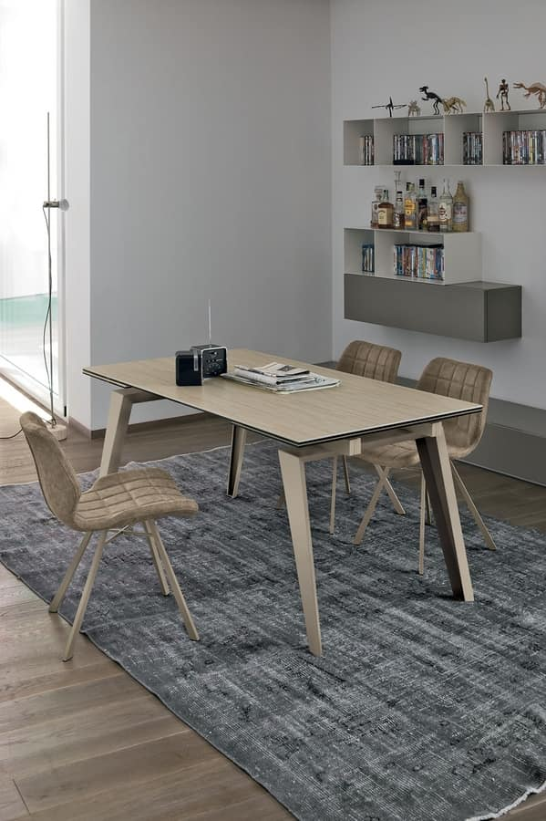 LIBECCIO 160 TA1A7, Table with extendable glass top