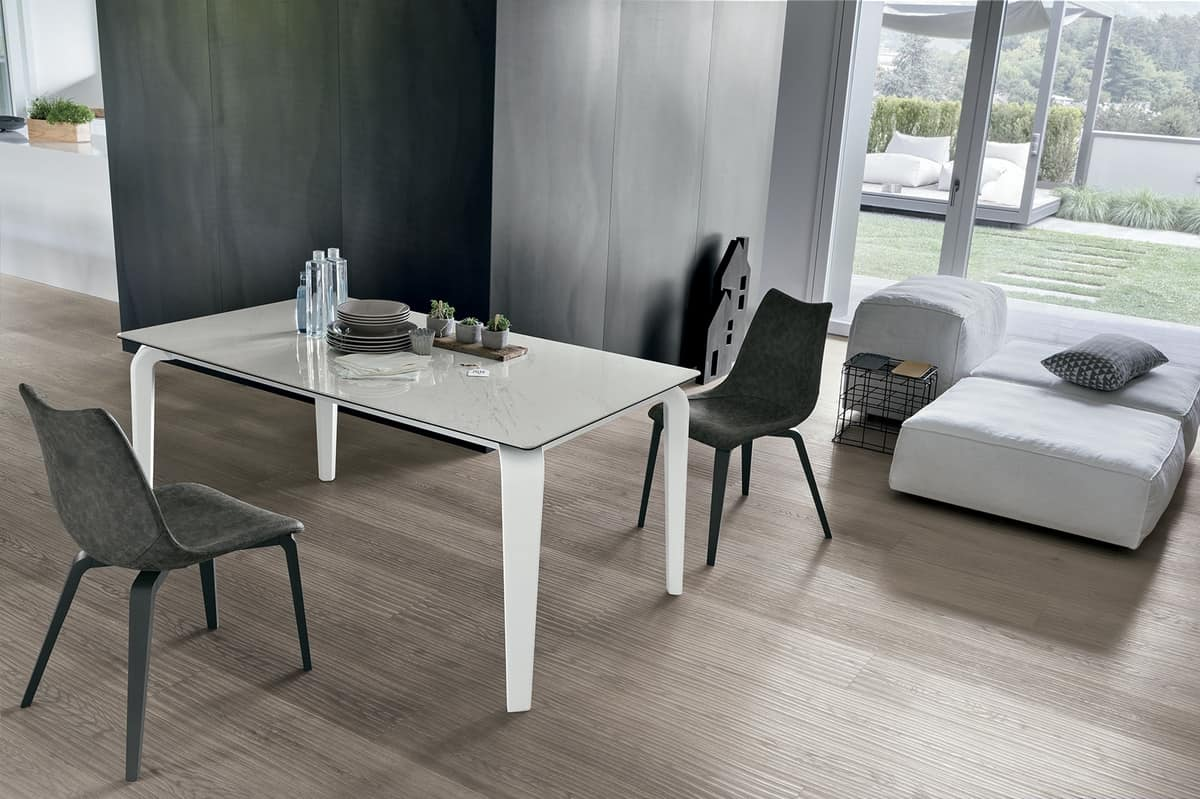 MAGELLANO TA401, Extendable table glass suitable for dining rooms modern