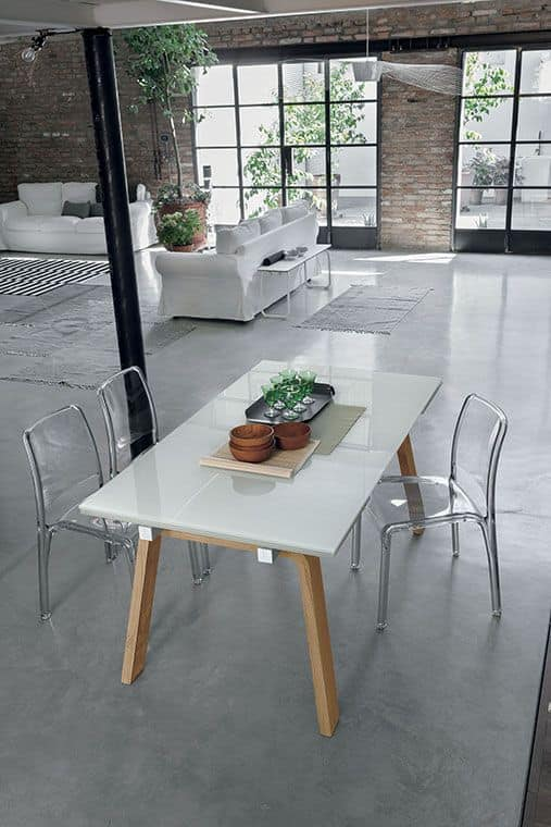 MARTE 160 TA127, Extendable table with top and extensions made of glass