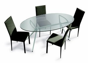 Metro, Table with elliptical glass top