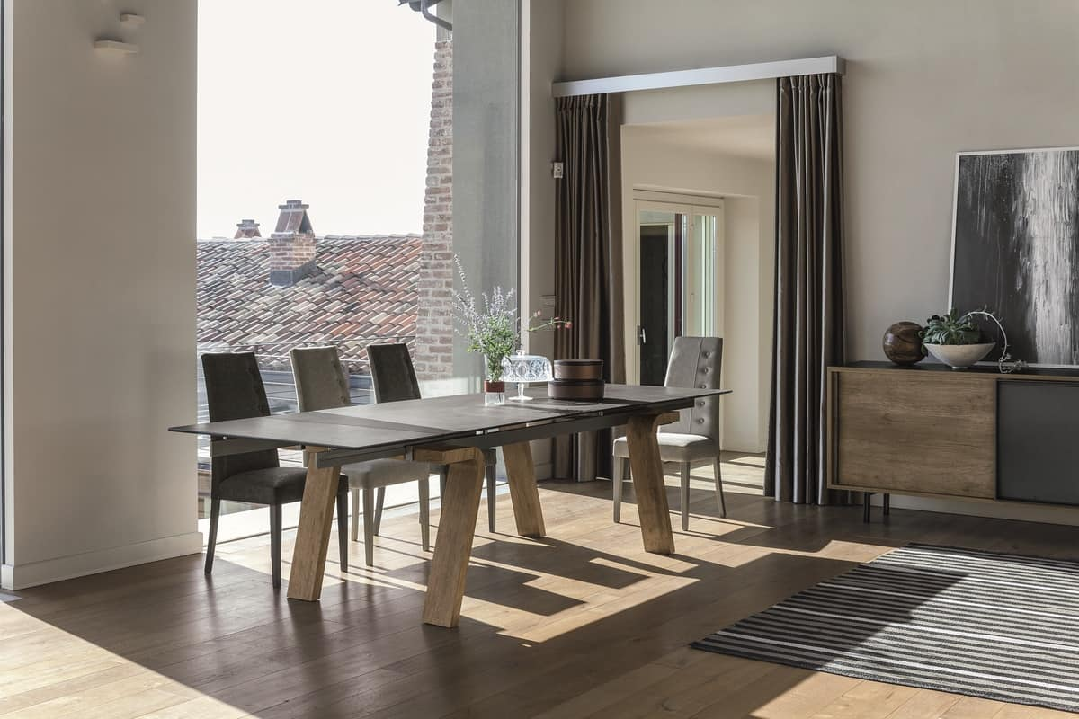 OMNIA TA508, Extendable table in laminate with glass top
