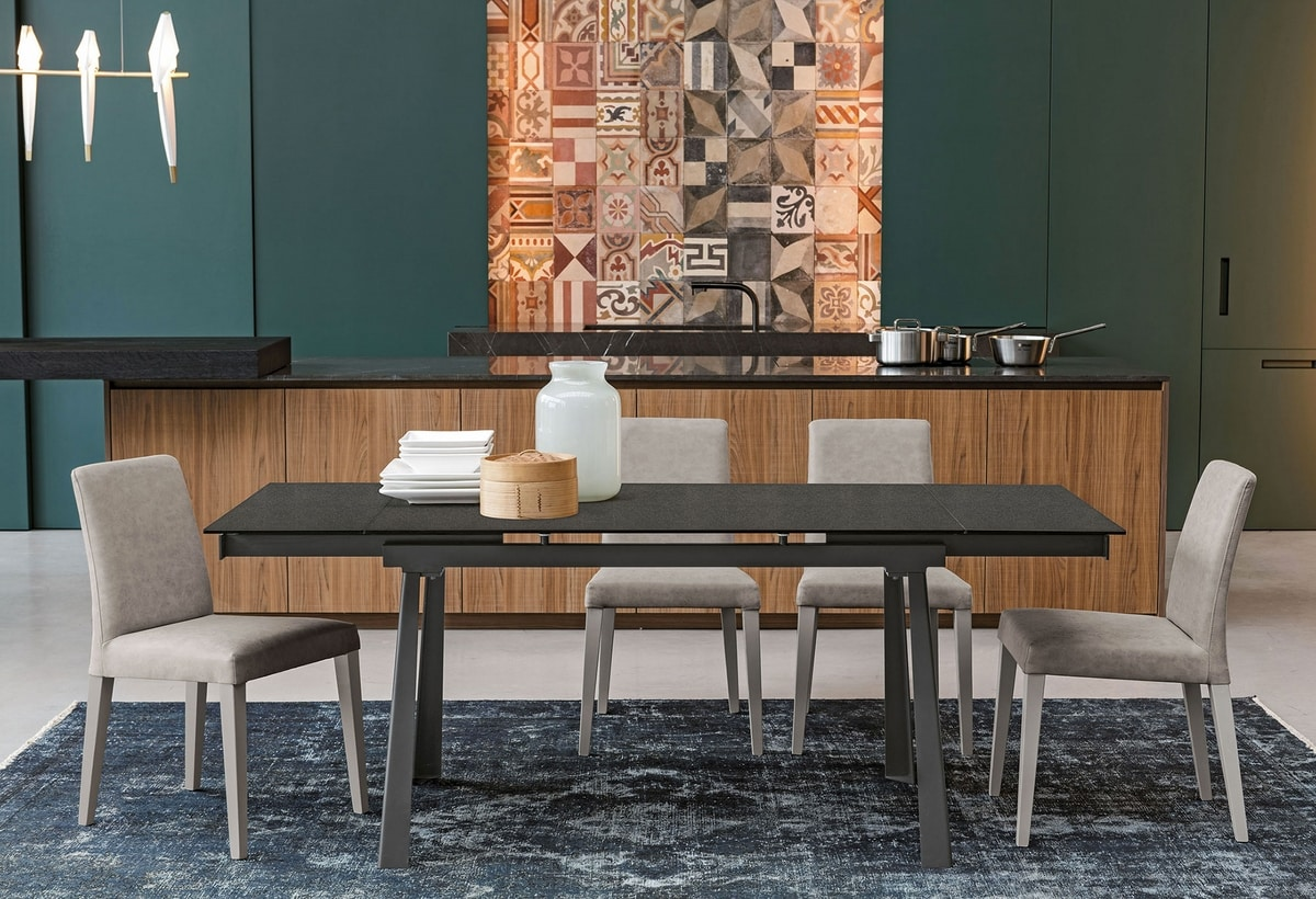 PONENTE 130 TA1B8, Table with extendable glass or stoneware top