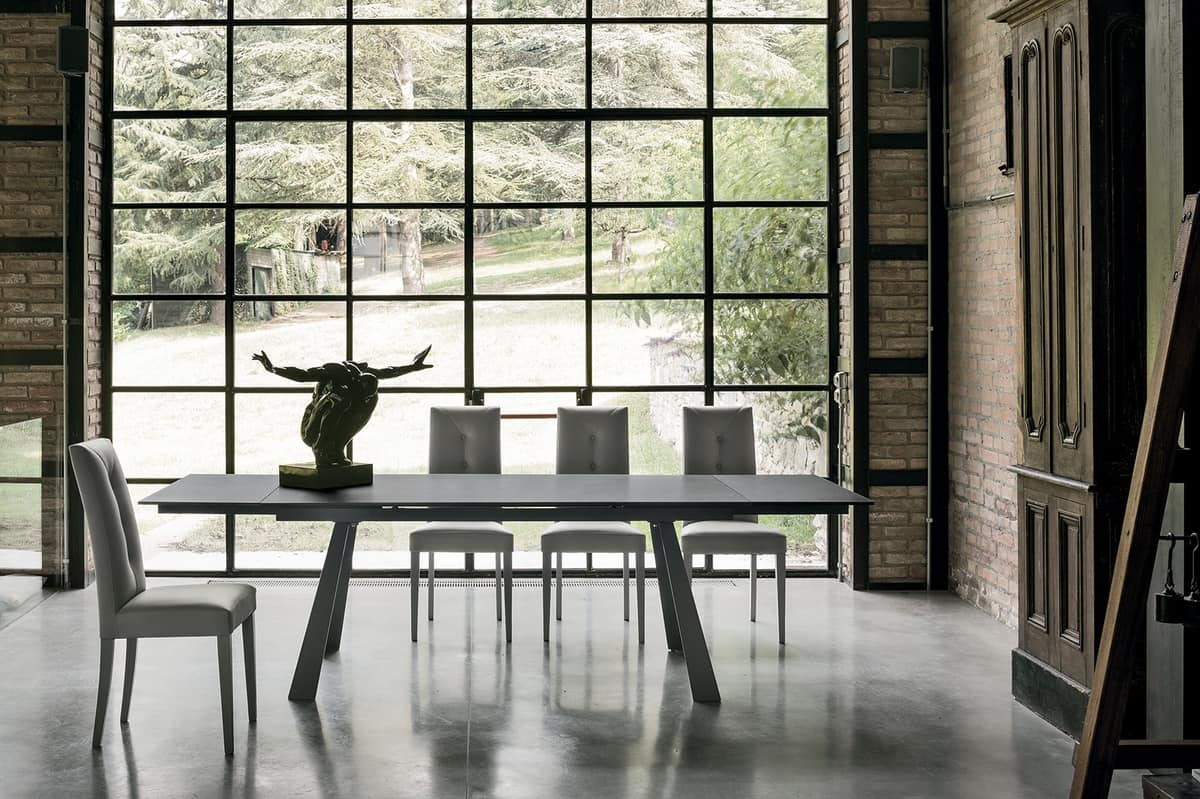 PONENTE 180 TA1A4, Table with top and extensions in porcelain stoneware