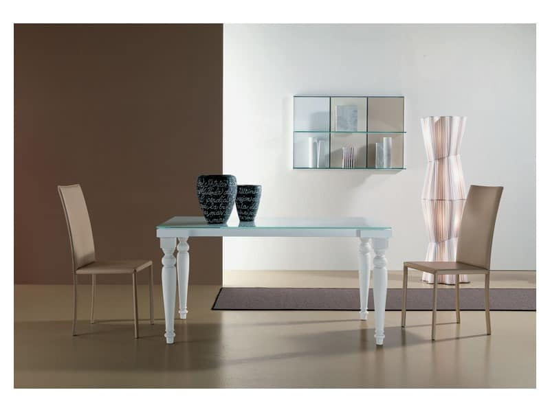 s56 cesare s58 cesarone, Extendable table with glass top