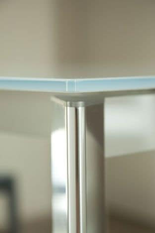 s70 ascanio, Square extensible table with glass top