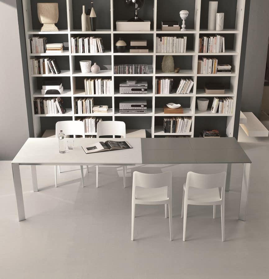s72 gervasone, Extending table with aluminum frame and glass top