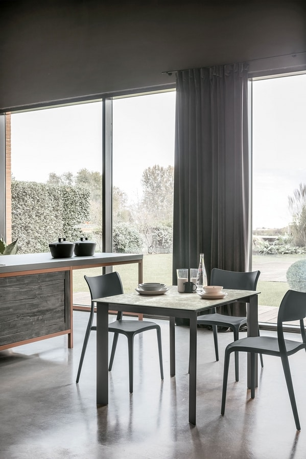 SATURNO 130 TA188, Extendible table, aluminum frame, tempered glass top