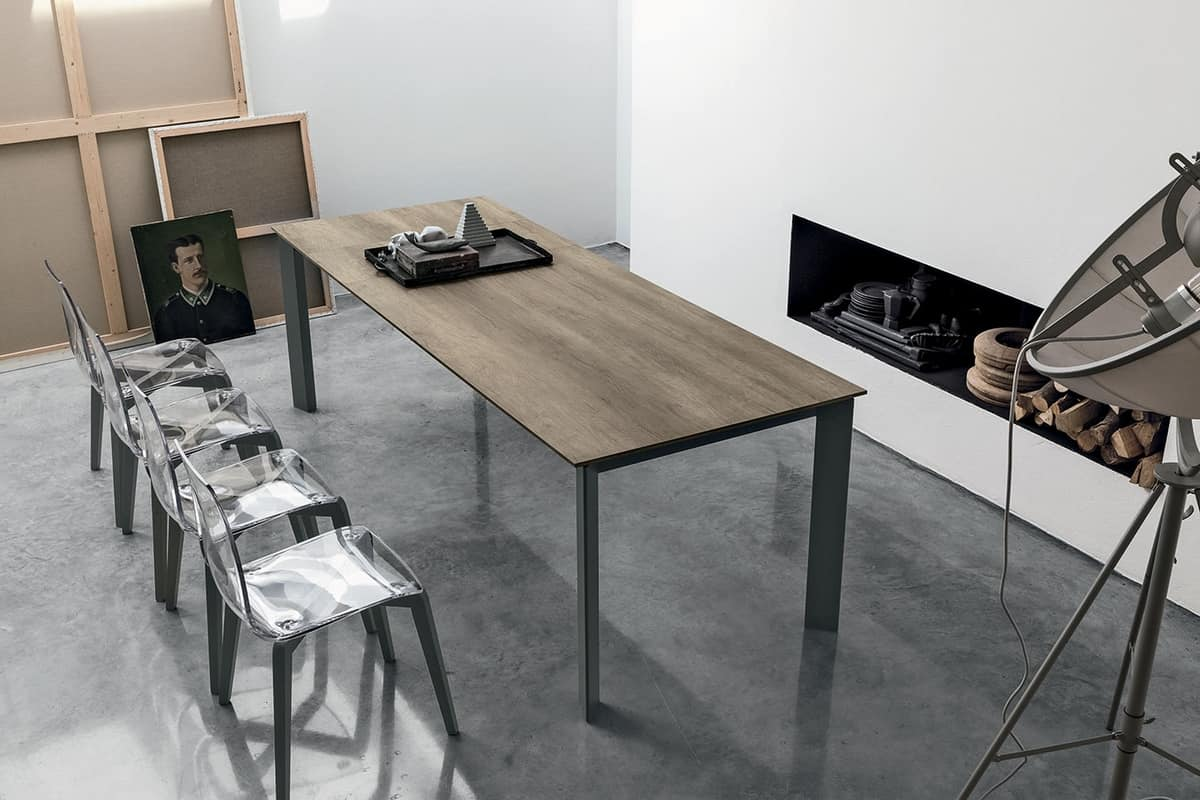 SATURNO 160 TA192, Table with aluminum frame, tempered glass top, modern style