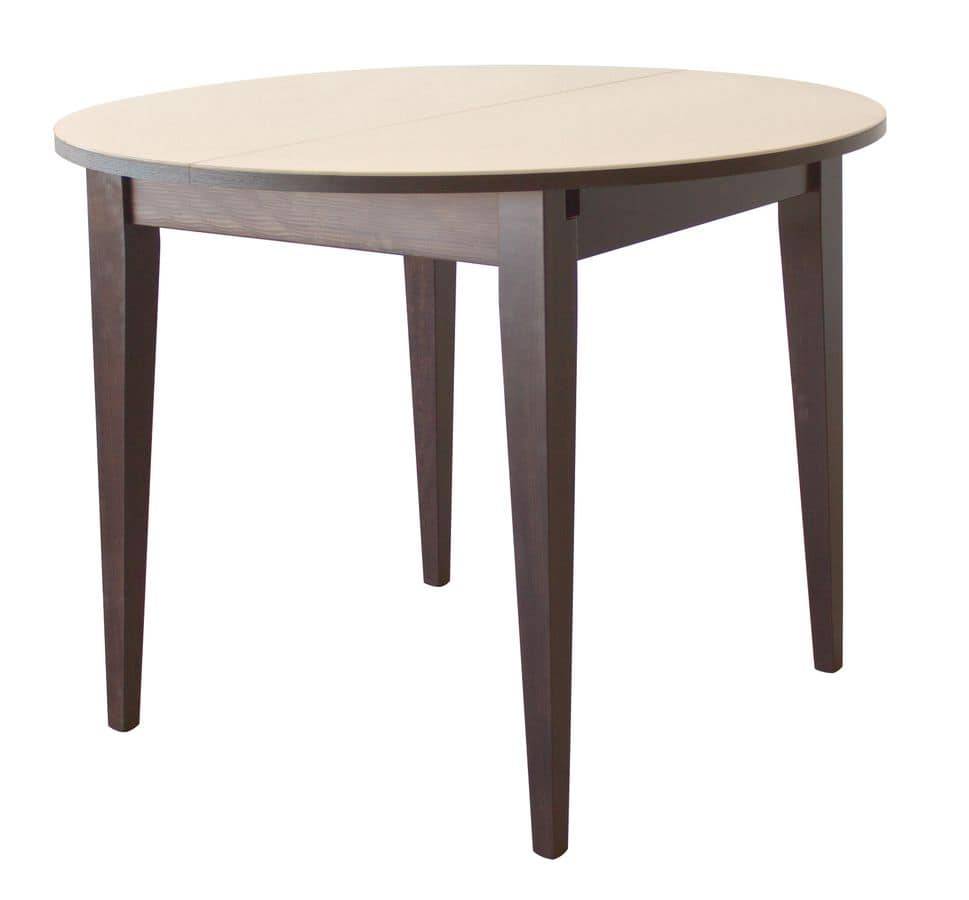 TA03, Round extendable table, in wood, glass top