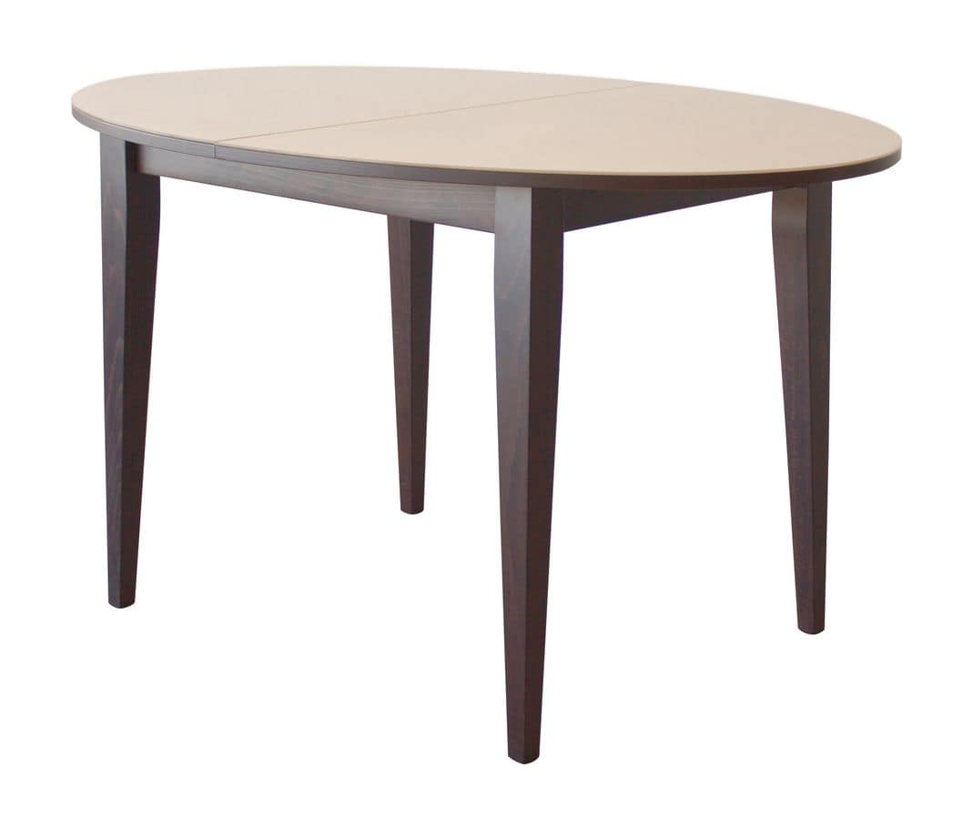 TA04, Extendable oval wooden table, top with glass