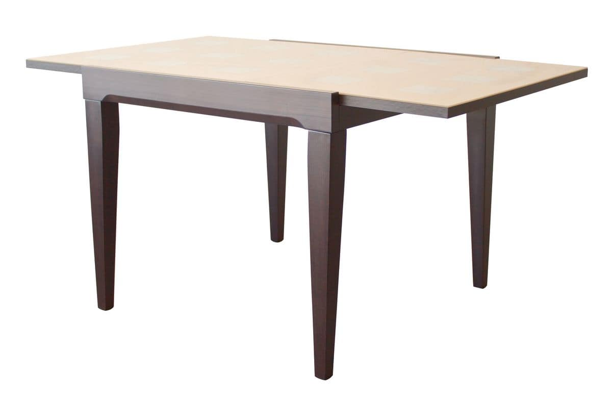 TA33, Extendable rectangular table, top in laminated and glass