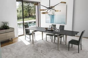 TOTEM TA509, Solid wood table and top in porcelain stoneware