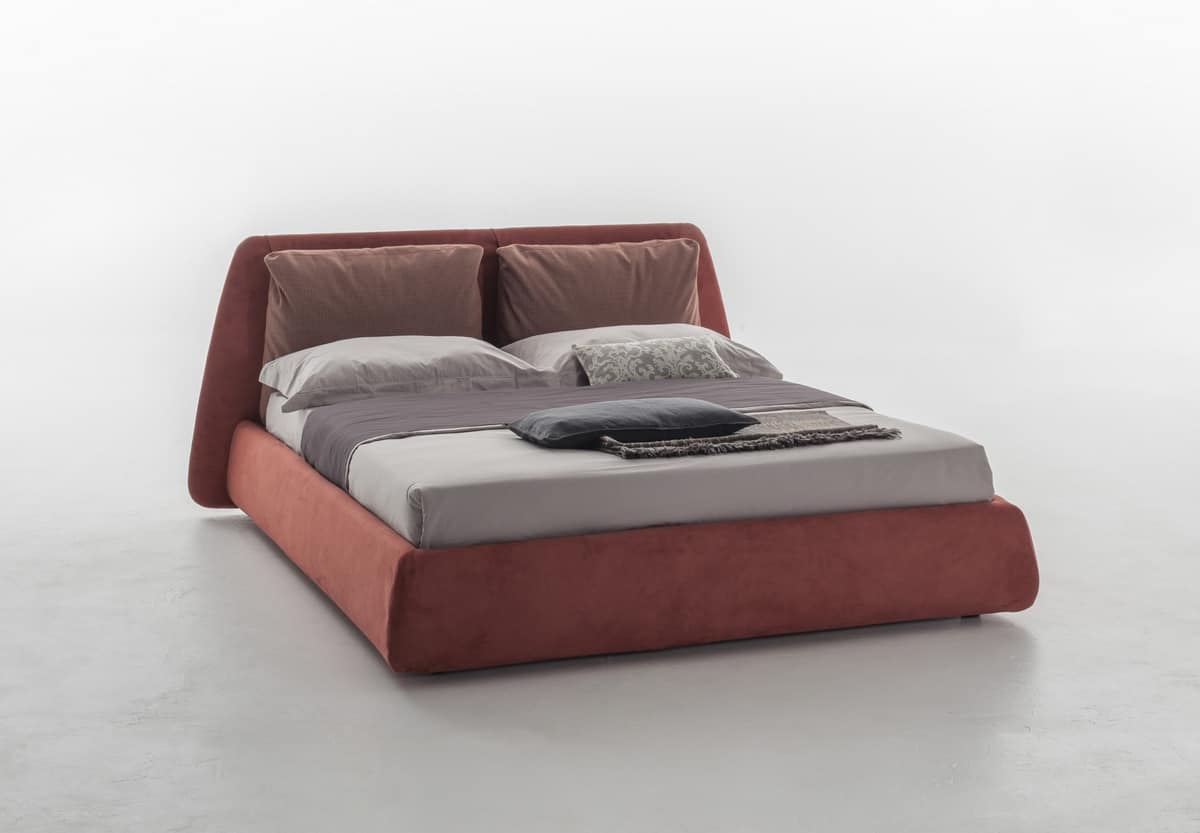DHARMA, Upholstered bed, with a large headboard with cushions