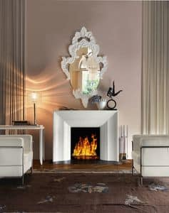 Art. VL411, Elegant fireplace in white wood