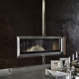 Fireplace In Lacquered Steel With Satin Inserts Idfdesign