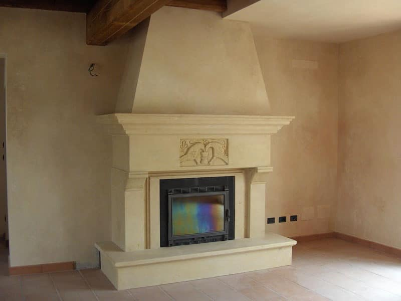Fireplace Bologna, Structure made of in Vicenza yellow stone for fireplace