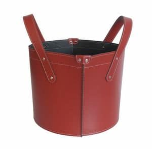 Garda, Firewood holder in leather and faux-leather with rubber feet