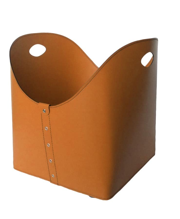 Zesta, Firewood holder in leather with handles, ideal for fireplaces