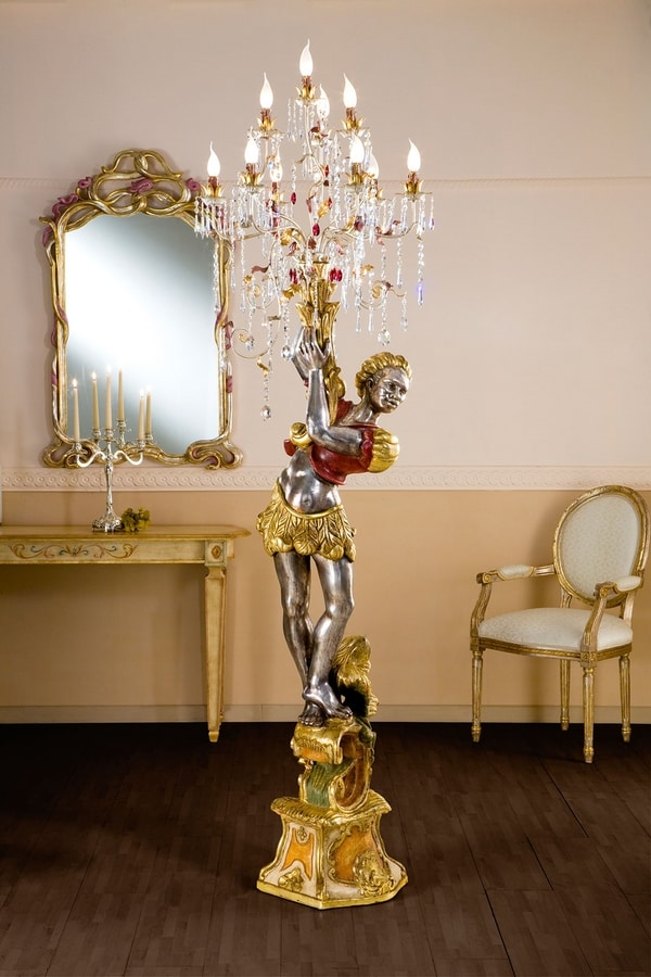 966410, Floor lamp with sculpted base