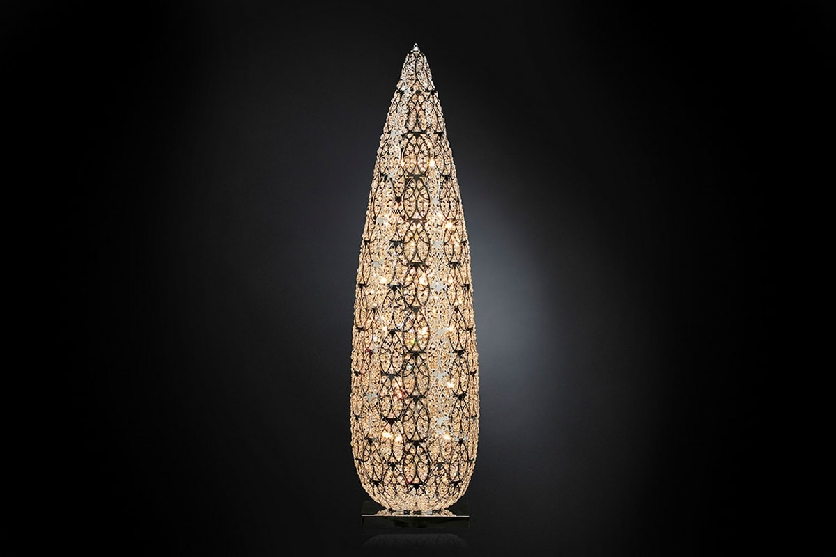 Arabesque Big Flame, Lamp with faceted crystals