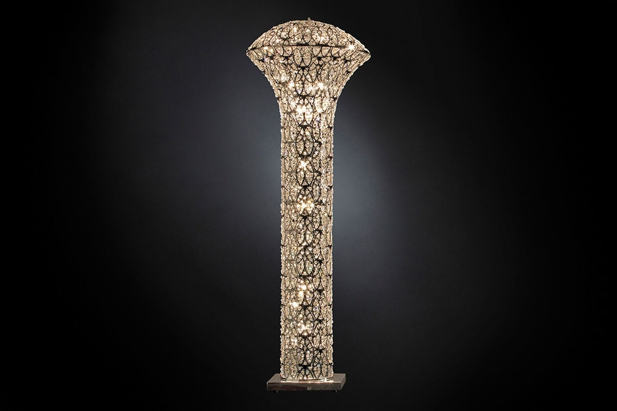 Arabesque Exclamation Big, Floor lamp in steel and crystal