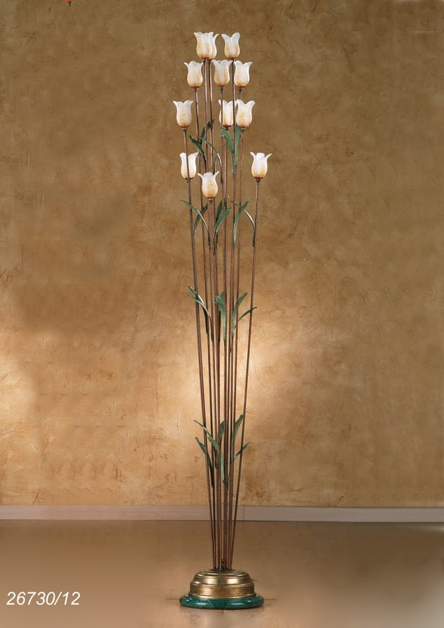 Art. 26730/12 Butterfly, Floor lamp in brass and glass