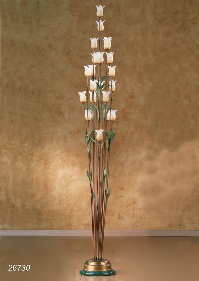 Art. 26730 Butterfly, Floor lamp with decorative flowers in Murano glass