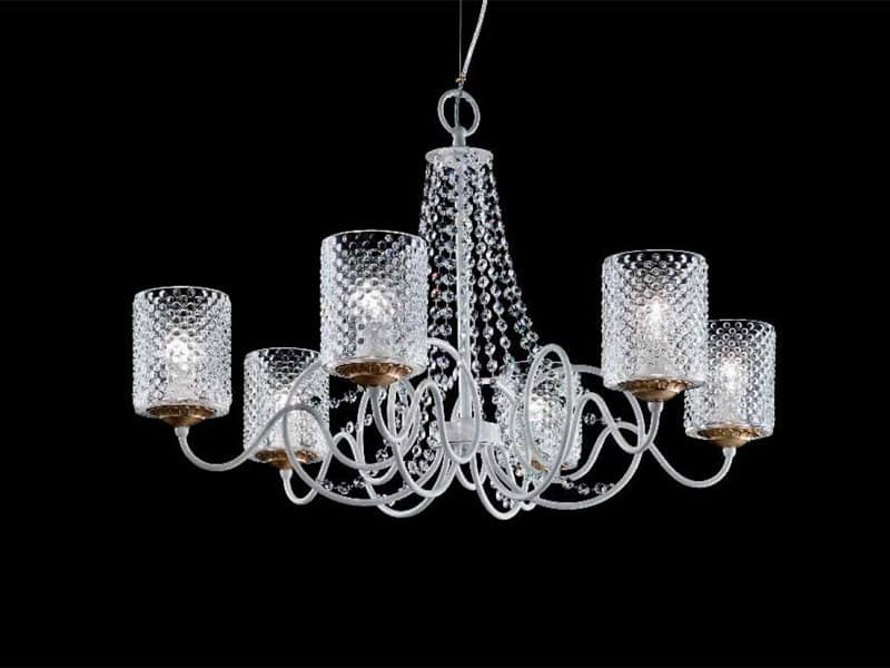 Class chandelier, Chandelier with lampshades in organza and Sw pendants