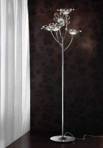 Daisy floor lamp, Floor lamp in chrome metal with glass diffusers