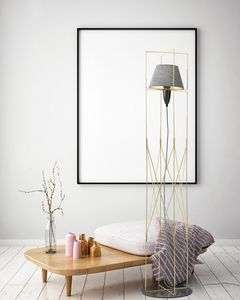 Kengo, Floor lamp with structure in gold metal wire