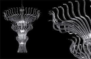Pandora chandelier, Chandelier with glass modular elements and Sw pendants