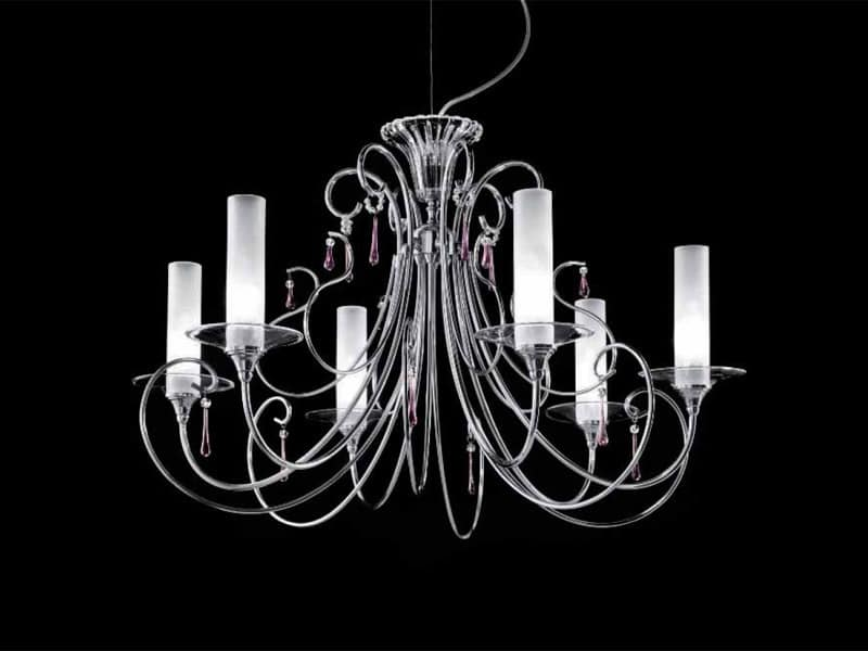 Sinfonia chandelier, Chandelier with chromed metal handmade frame