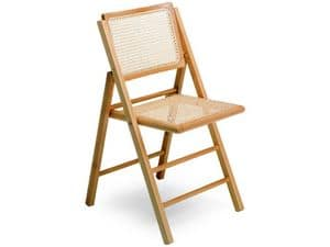 105, Chair with folding structure, in beech wood and cane
