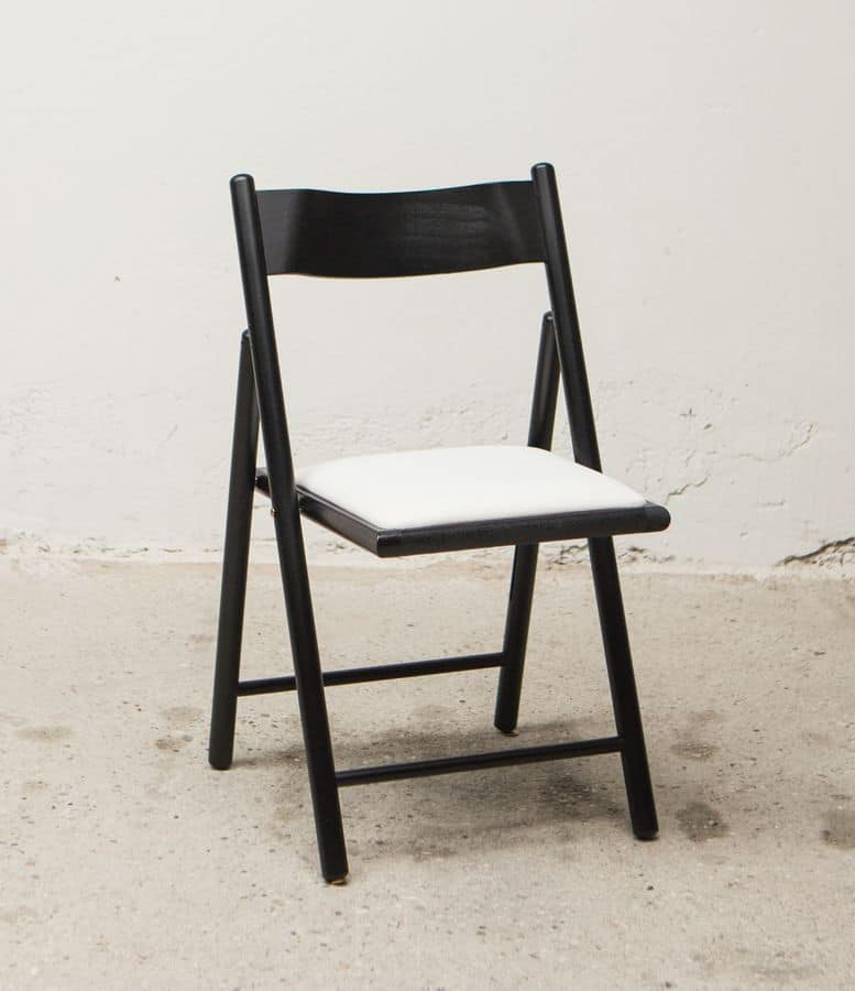 187, Folding chair, with upholstered seat, in beechwood