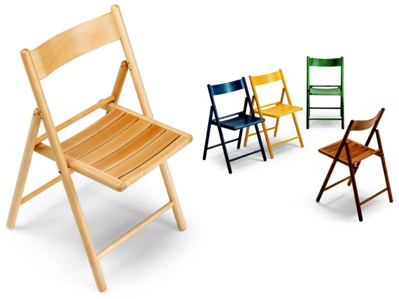 189 EV, Folding chair, in beechwood, suitable for outdoor