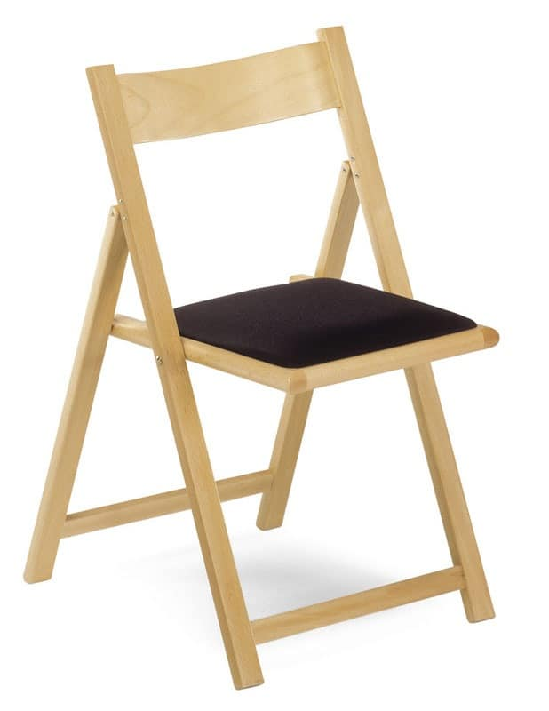 193, Folding chair in beechwood, upholstered seat, for ceremonies