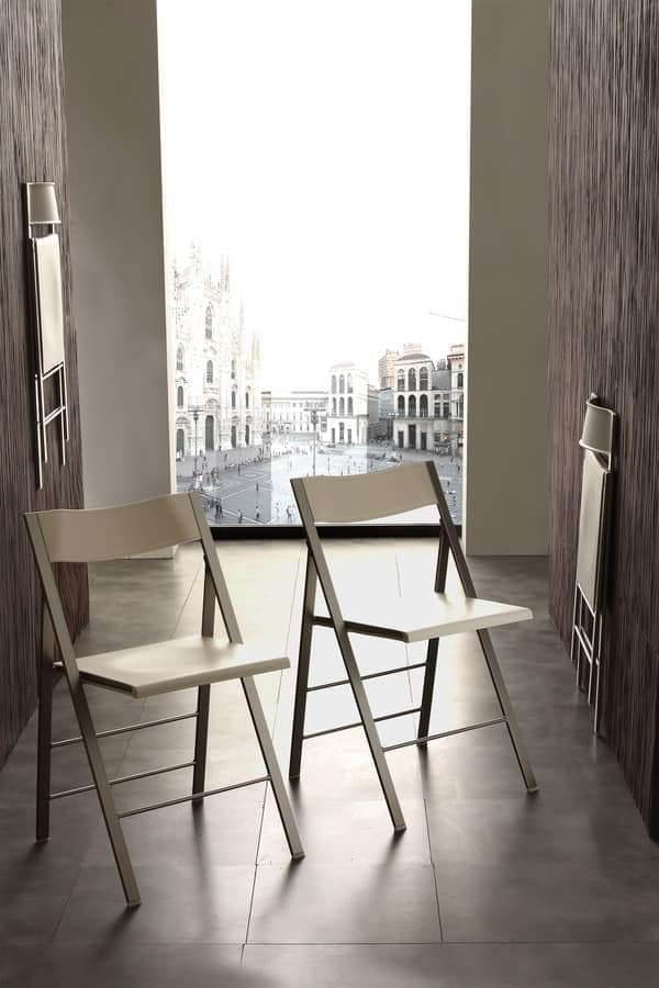 Art. 460 Star, Folding chair in metal and polypropylene, smart and space-saving