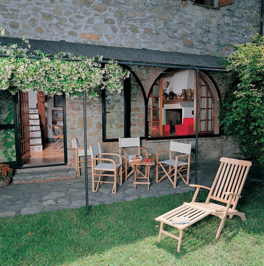 Chaise longue, Deckchair in wood for garden