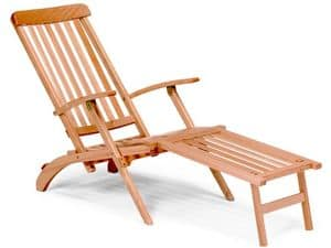 Chaise longue, Deckchair in wood for garden