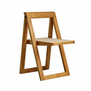 Ciak 5188, Folding chair in wood, with seat in leather
