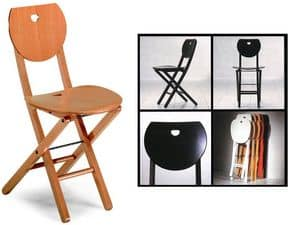 Erica, Folding chair in wood, for home and office