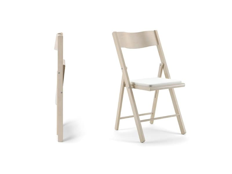 Kate, Wooden folding chair, padded seat, for events