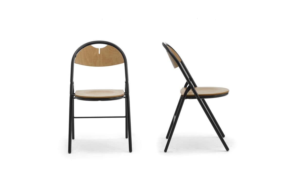 Piega 0550LE, Folding chair made of metal and wood, for conference rooms
